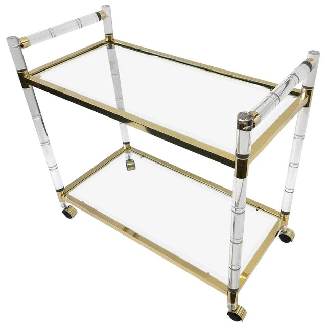 Italian Brass and Lucite Bar Cart For Sale