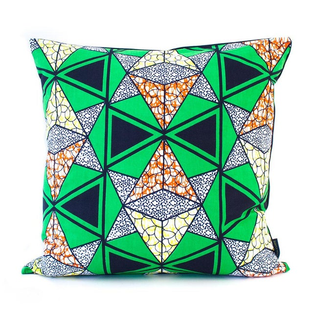 African Wax Print Pillow Cover - Green - Image 1 of 4