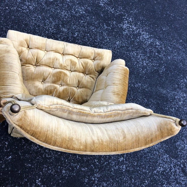 1970s Vintage Hollywood Regency Style Velvet Tufted Tassel Club Chairs - A Pair For Sale - Image 11 of 13