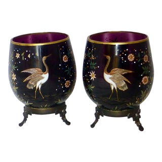19th Century Anglo-Japanese Bronze Mounted Moser Glass Vase ~ a Rare Pair For Sale