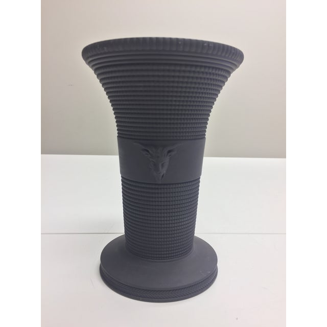 Wedgwood Black Basalt Vase With Two Ram Heads For Sale - Image 5 of 5