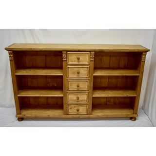 Pine Bookcase or Television Console With Five Drawers Preview