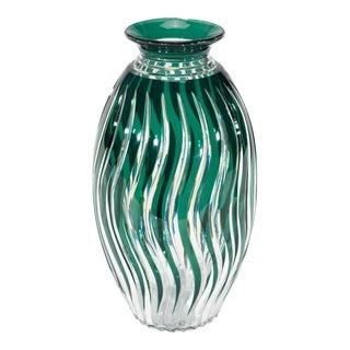 Monumental Val St. Lambert Handblown Crystal Art Deco Vase For Sale