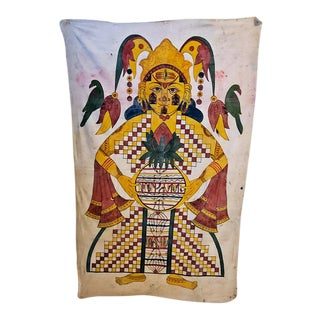 Antique Indian Shiva Cotton Tapestry For Sale