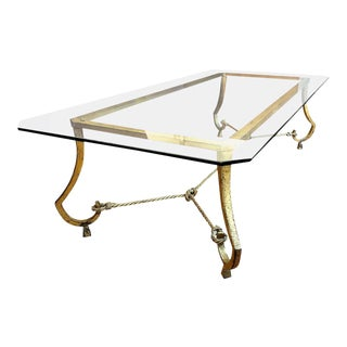 Maison Ramsay Rare Very Long Coffee Table in Gold Leaf Wrought Iron