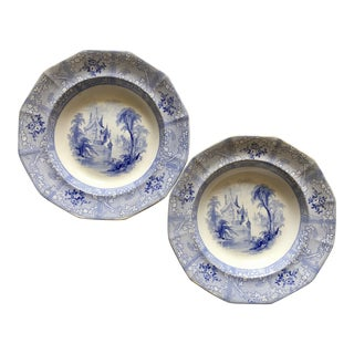 Antique English Staffordshire Chinoiserie Soup Bowls-Davenport For Sale