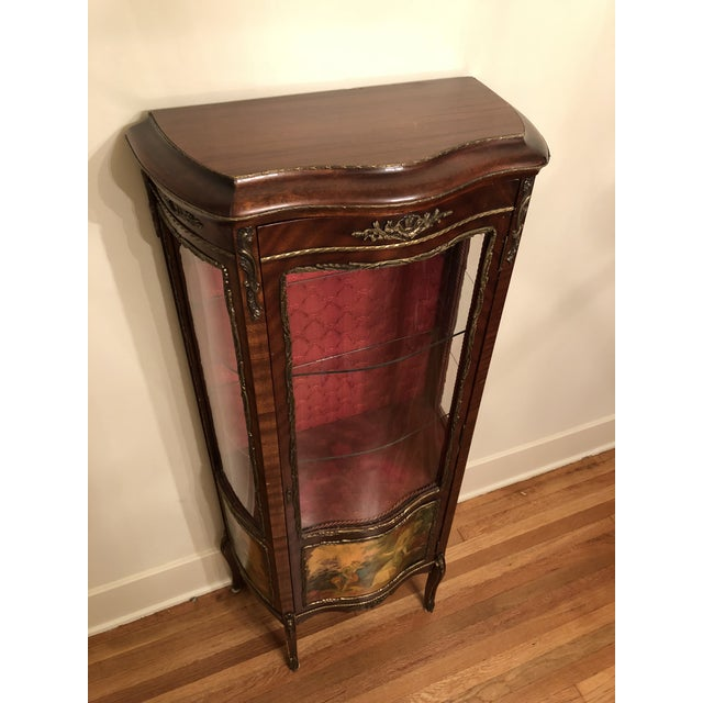 Original curved glass, red fabric and red rope on this piece. Made in the 1910s.