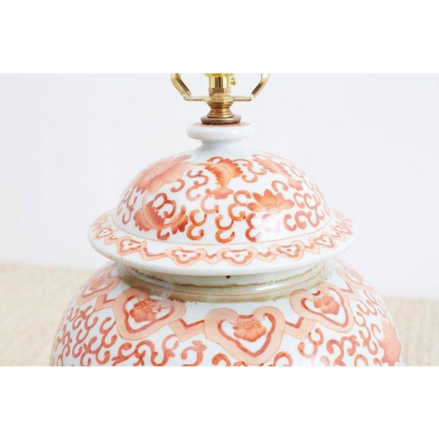 Early 20th Century Pair of Chinese Porcelain Floral Ginger Jar Lamps For Sale - Image 5 of 13