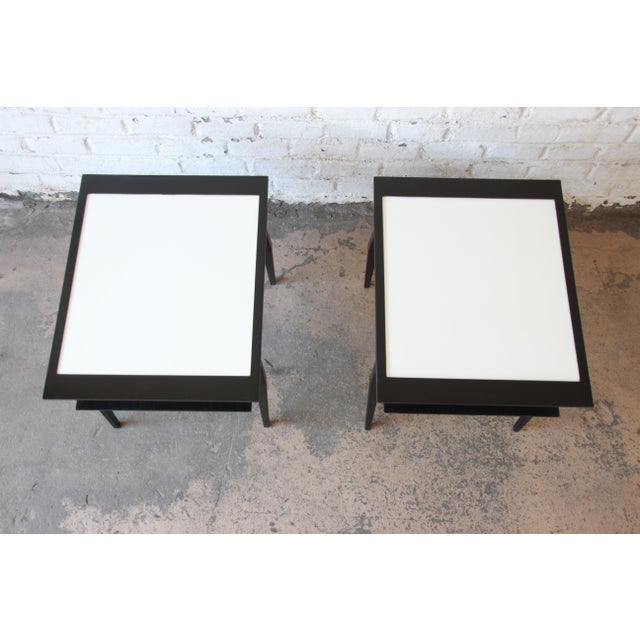 1950s Bertha Schaefer for Singer & Sons Ebonized Mid-Century Modern End Tables- A Pair For Sale - Image 5 of 13