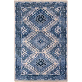 Artemis by Jaipur Living Hobbs Hand-Knotted Geometric Blue & Light Gray Area Rug - 8' X 10' For Sale