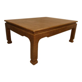 Boho Chic Harrison Van Horn East-West Lacquered Raffia Coffee Table For Sale