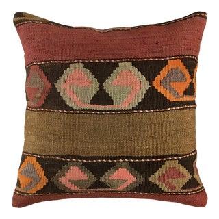 "Rustic Raspberry Stripe Pillow | 20"" For Sale"