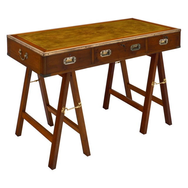 Campaign Style Vintage Mahogany Leather Top Writing Desk For Sale - Image 9 of 9