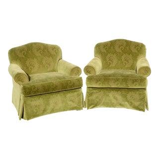 Designer Mid-Century Green Paisley Velvet Armchairs- A Pair