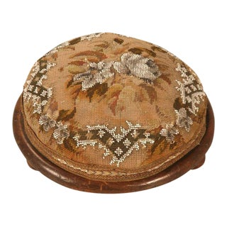 Antique English Hand Beaded Tuffet For Sale