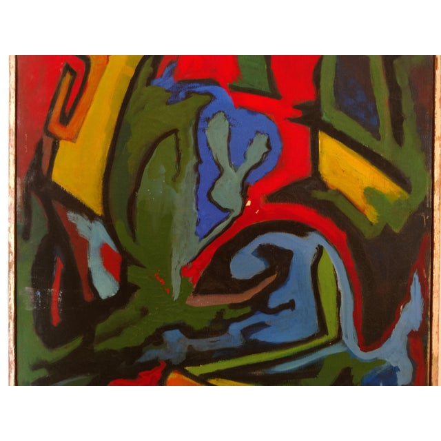 Abstract Expressionism Edgar W. Johnson Mid-Century Abstract Painting For Sale - Image 3 of 8