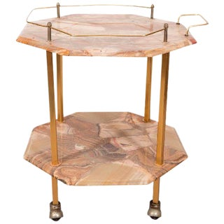 MIDCENTURY TWO-TIERED AGATE COCKTAIL CART For Sale