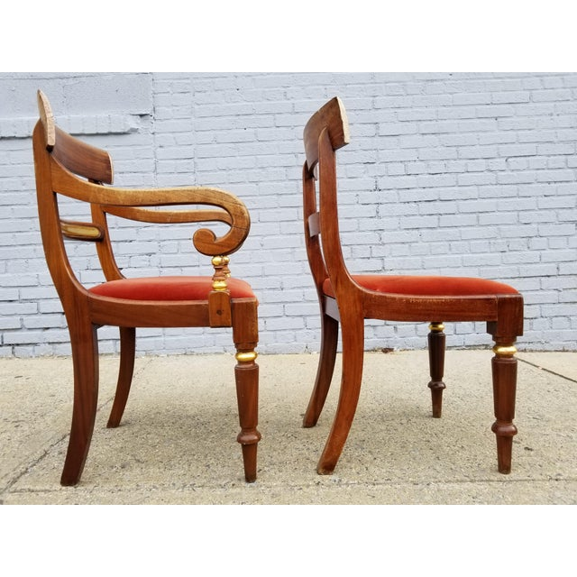 Antique Neoclassical Mahogany Gilt Side Chairs - a Pair For Sale - Image 4 of 11
