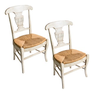 French Provincial Wood Painted & Rush Seat Urn Chairs, A-Pair For Sale