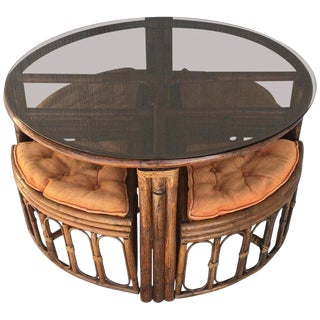 Vintage Round McGuire Style Bamboo and Glass Dining Table With Four Stools For Sale