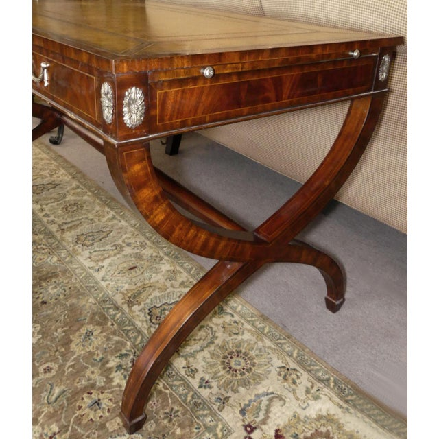 1990s Maitland Smith Regency Style Leather Top Mahogany Writing Desk For Sale - Image 5 of 11