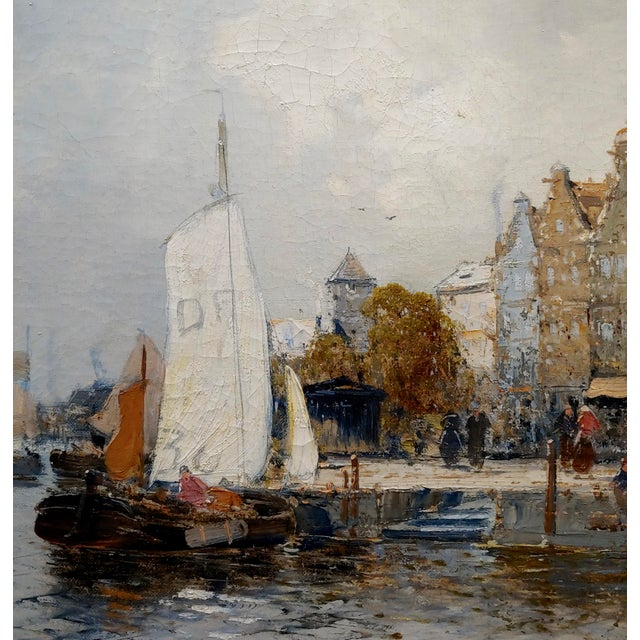 19th Century Old Amsterdam With Boats - 19th Century Dutch Impressionist Oil Painting For Sale - Image 5 of 11