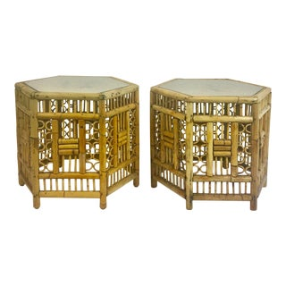 Chinoiserie Bamboo End Tables - A Pair