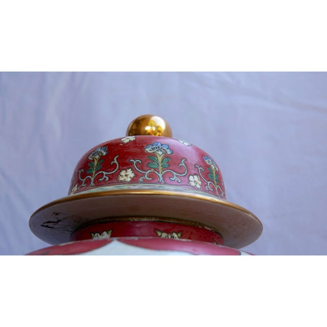 Mid 20th Century Vintage Fuchsia, White & Green Ginger Jar Vase With Lid For Sale - Image 5 of 12