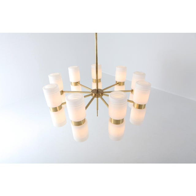 1960s Hans-Agne Jakobsson Brass and Milky Opaline Glass Chandelier For Sale - Image 5 of 10