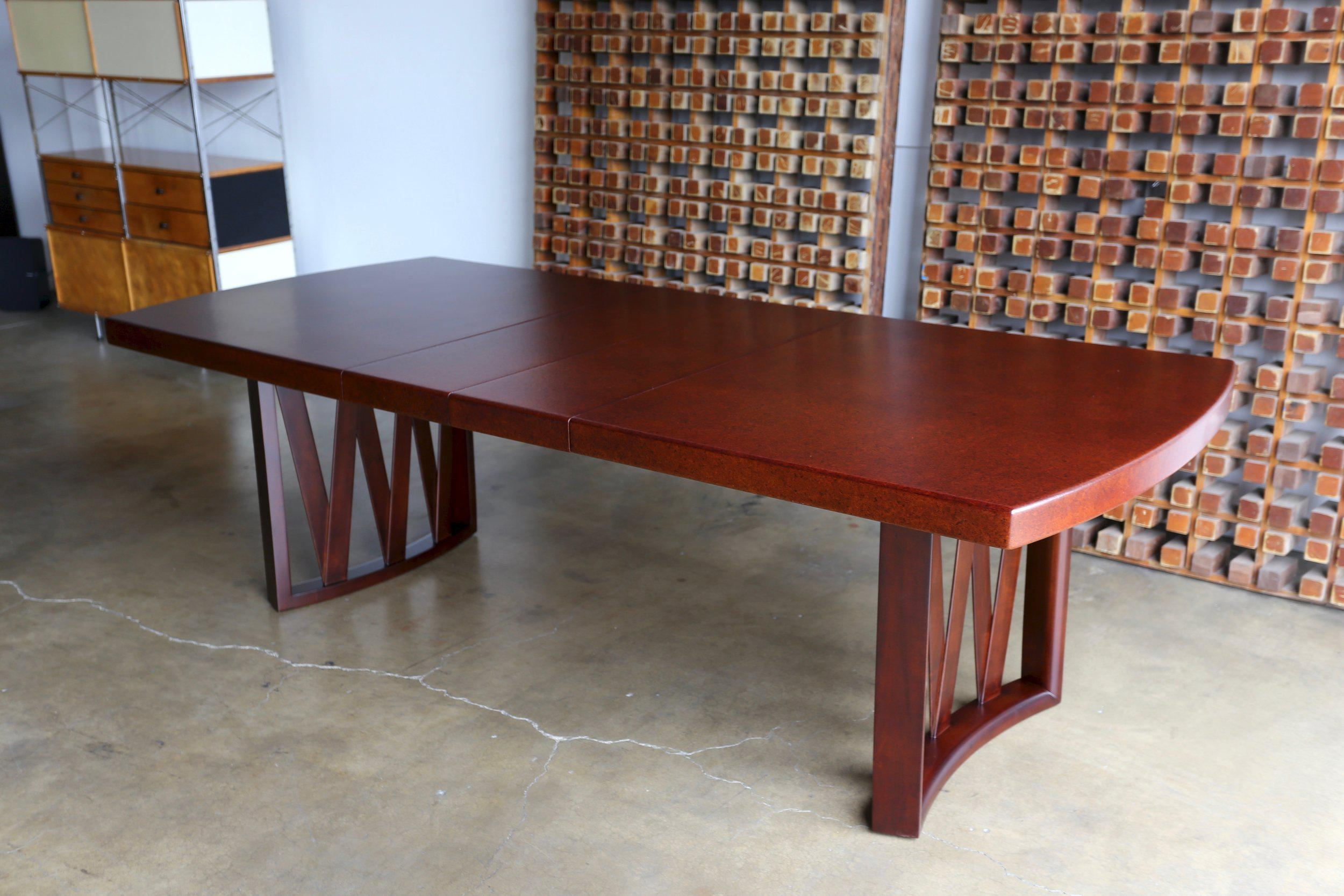 Paul Frankl Cork And Mahogany Dining Table For Johnson Furniture Company.  This Piece Has Been