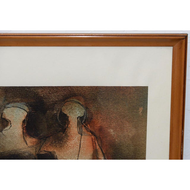"""Mid Century Modern """"Family Group"""" Mixed Media Painting C.1961 For Sale In San Francisco - Image 6 of 11"""