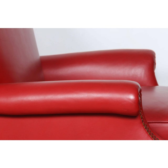Red Pair of Red Leather French Club Armchairs For Sale - Image 8 of 12