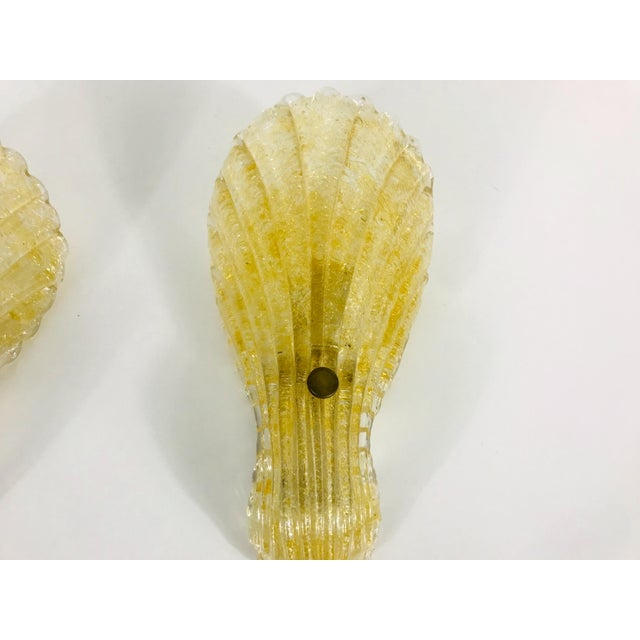 1960s Mid-Century Modern Shell Shaped Murano Glass Wall Lamps by Fischer Leuchten, Germany- a Pair For Sale - Image 4 of 12