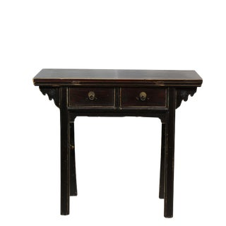 Two Drawer Black Accent Table For Sale