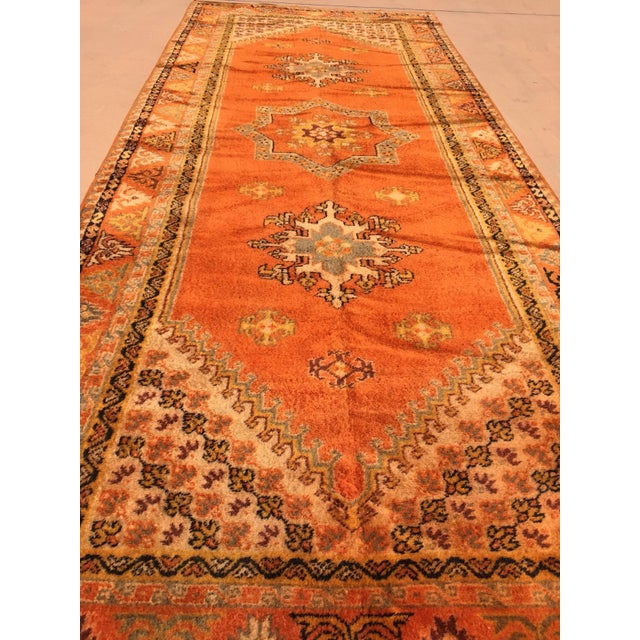 Mid 20th Century Vintage Mid Century Moroccan Orange Tribal African Pile Rug- 6′7″ × 16′5″ For Sale - Image 5 of 12