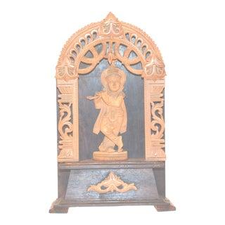 Krishna Flute Sandalwood Rosewood Figure Hindu Vishnu Antique Vintage Statue For Sale