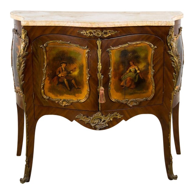 19th Century Antique French Vernis Martin Style Marble Top and Bronze Commode For Sale