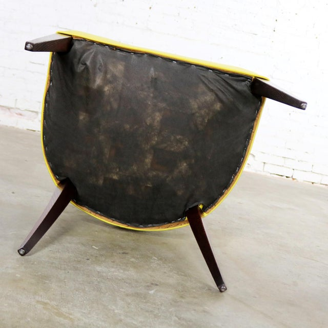 Black Mid Century Modern Yellow Vinyl and Oak Barrel Back Side Chair For Sale - Image 8 of 13