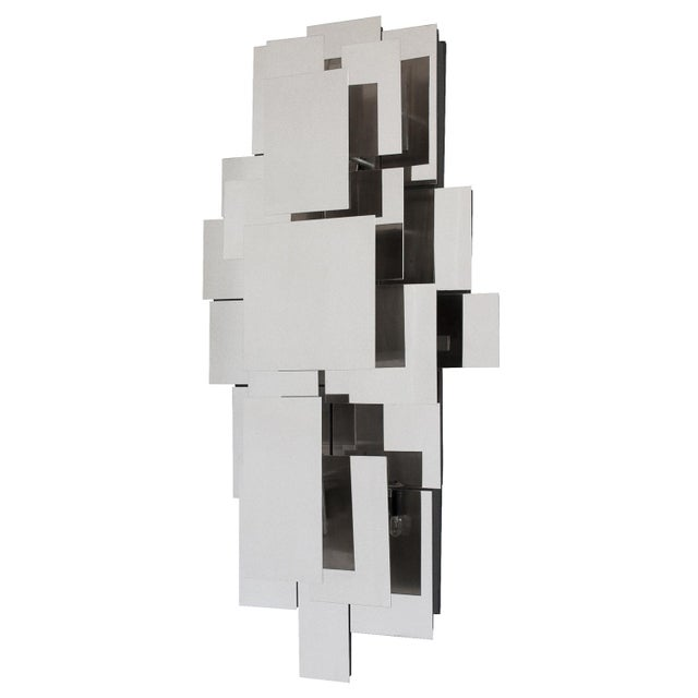 Abstract Polished Steel Wall-Light Sculpture or Sconce Attr. Reggiani For Sale - Image 3 of 11
