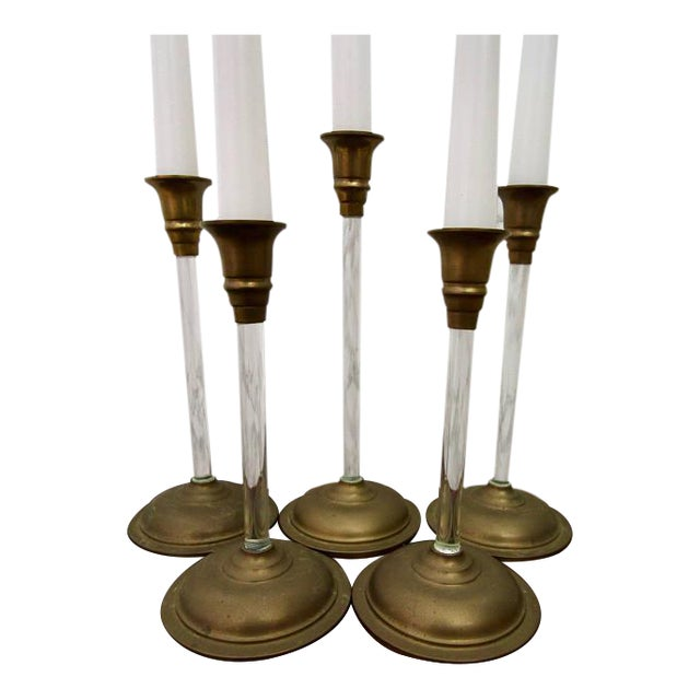 Set of 5 Brass and Acrylic Lucite Graduated Tulip Vintage Candle Stick Holders - Image 1 of 4