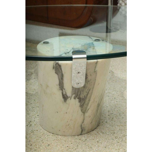 Marble and Glass Low Table Possibly by Brueton For Sale In Miami - Image 6 of 9