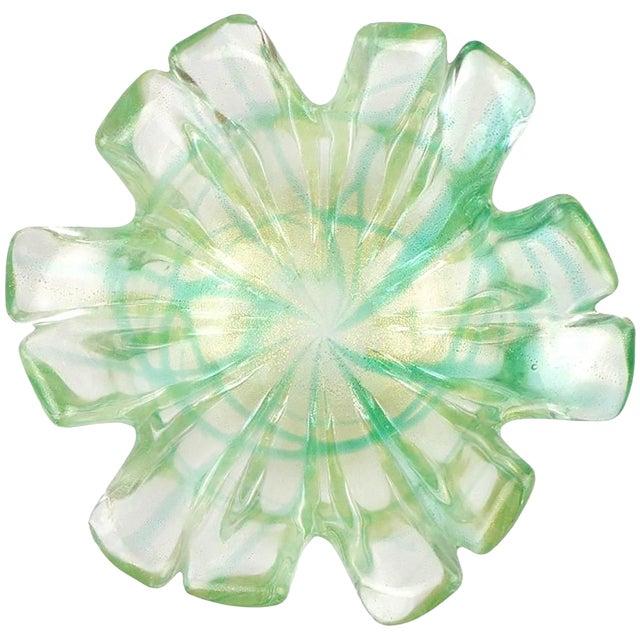 Murano Italian Green Splatter Swirl Gold Flecks Art Glass Flower Shape Bowl For Sale