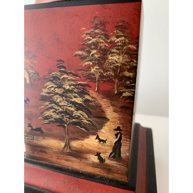 Mid 20th Century Chinese Painted Red Metal Table Lamps - a Pair For Sale - Image 5 of 13