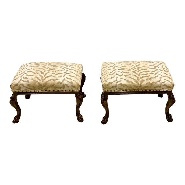 Vintage Carved Walnut French Style Ottomans-A Pair For Sale