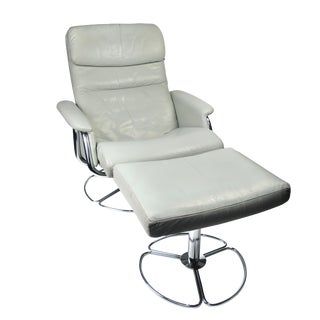 Bruno Mathsson Gray Leather and Chrome Lounge Chair for Dux For Sale