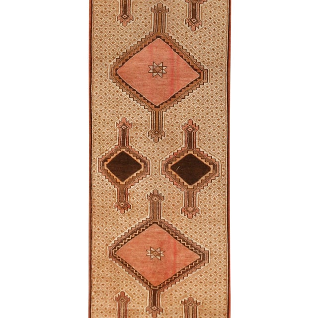 Vintage Turkish runner in warm color palette, hand knotted of high-quality wool. Color: multi