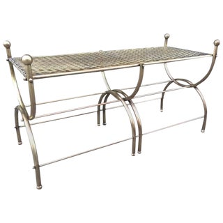 French Brass Curule Bench For Sale