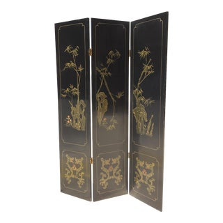 Asian/Tuscan Hand Painted Room Divider For Sale