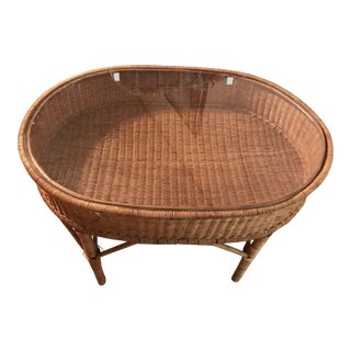 Wicker Mid-C. Glass Top Basket Cocktail Table Guatemalan For Sale