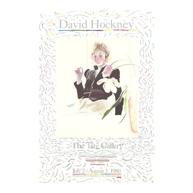 David Hockney, Celia in a Black Dress With White Flowers, Edition: 1000, Lithograph For Sale